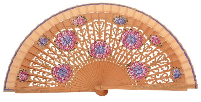 Hand painted birch wood fan 4548AVE
