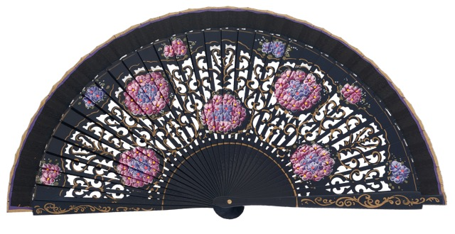 Hand painted birch wood fan 4548MAR