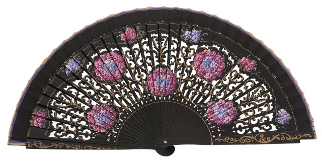Hand painted birch wood fan 4548NEG