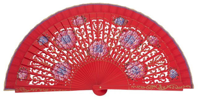 Hand painted birch wood fan 4548ROJ