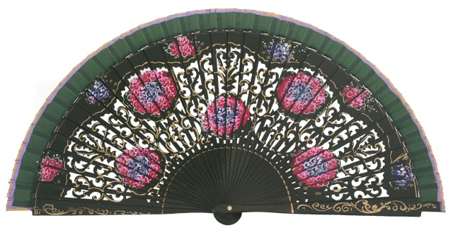 Hand painted birch wood fan 4548VBO