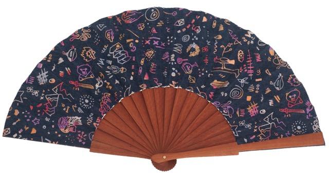 Fantasy pear wooden fan 4557SUR