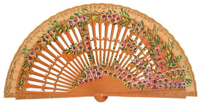 Hand painted birch wood fan 4585AVE