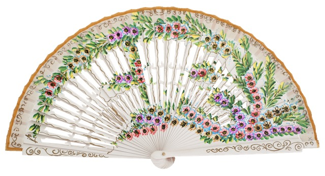 Hand painted birch wood fan 4585BLA
