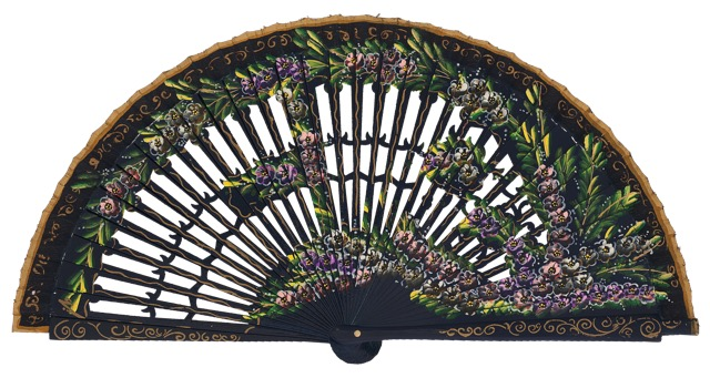 Hand painted birch wood fan 4585MAR