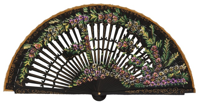 Hand painted birch wood fan 4585NEG
