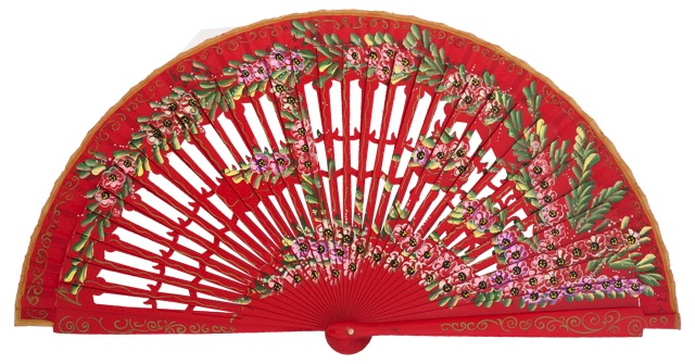 Hand painted birch wood fan 4585ROJ