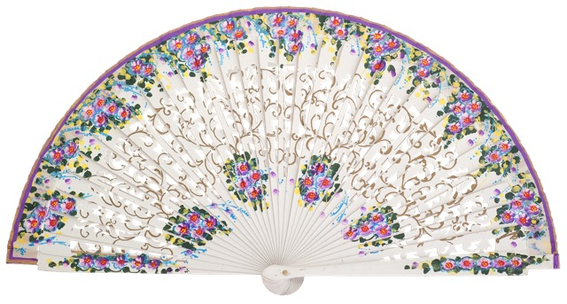 Hand painted birch wood fan 4586BLA