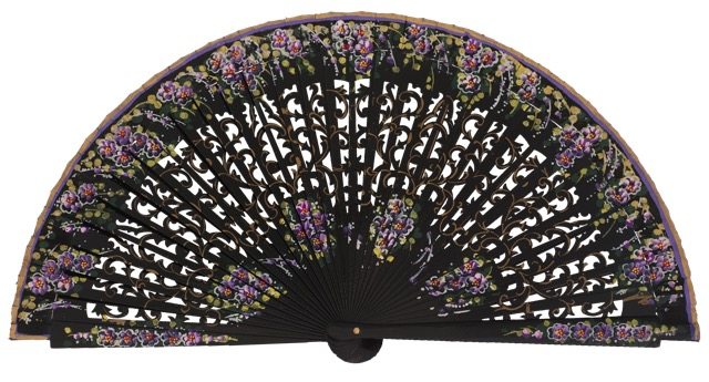 Hand painted birch wood fan 4586NEG