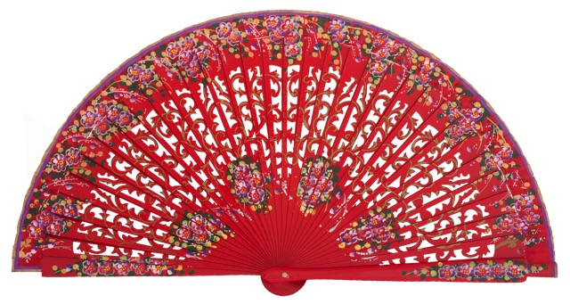 Hand painted birch wood fan 4586ROJ
