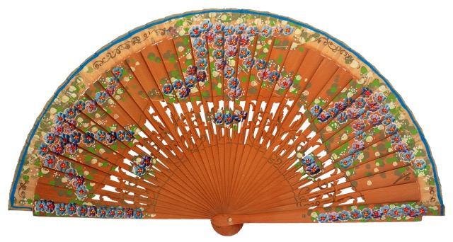 Hand painted birch wood fan 4587AVE