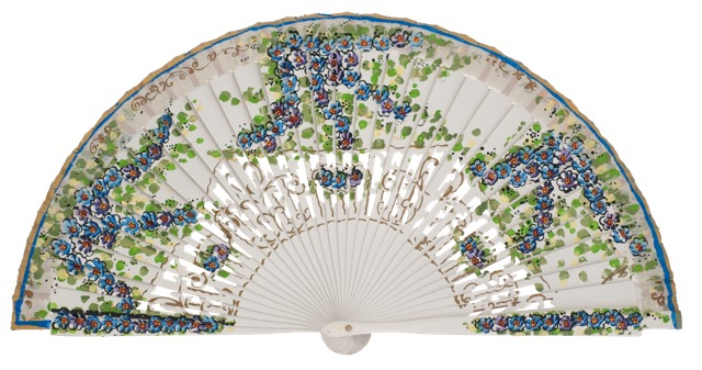 Hand painted birch wood fan 4587BLA