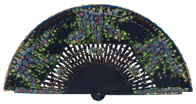 Hand painted birch wood fan 4587MAR
