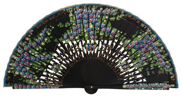 Hand painted birch wood fan 4587NEG