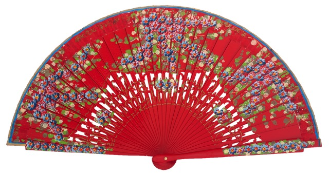 Hand painted birch wood fan 4587ROJ