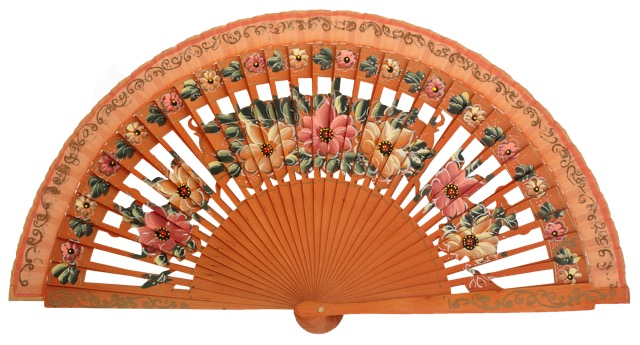 Hand painted birch wood fan 4588AVE