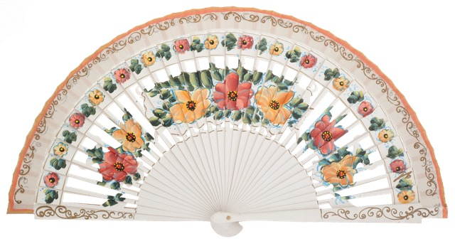 Hand painted birch wood fan 4588BLA