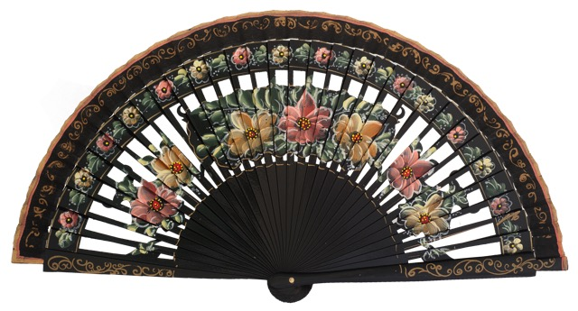 Hand painted birch wood fan 4588NEG