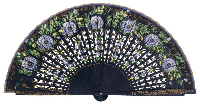 Hand painted birch wood fan 4591MAR