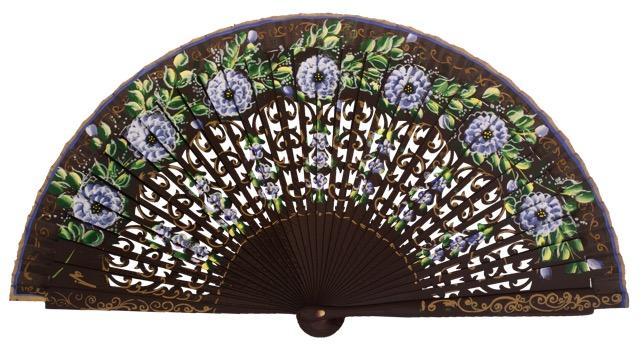 Hand painted birch wood fan 4591MRR