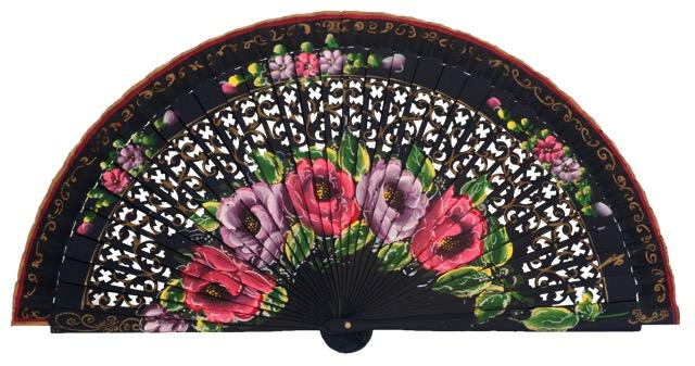 Hand painted birch wood fan 4592MAR