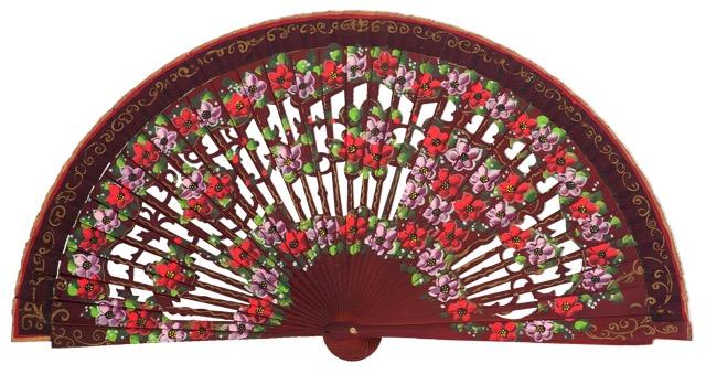 Hand painted birch wood fan 4593GRA