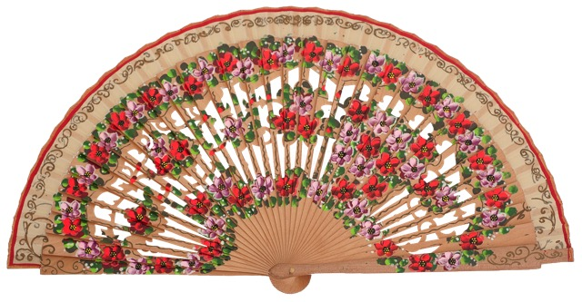 Hand painted birch wood fan 4593NAT