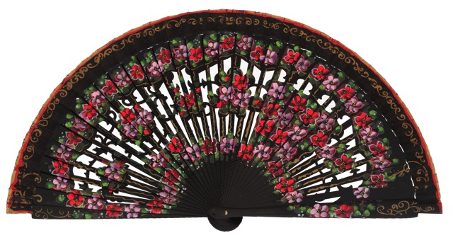 Hand painted birch wood fan 4593NEG