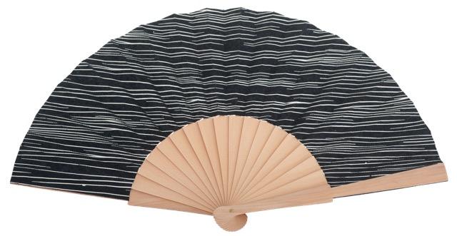 Hand painted birch wood fan 4598SUR