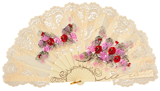 Hand painted plastic fan 479MFL